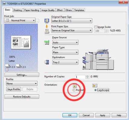 Thiết lập tùy chọn in trên máy Toshiba E-857 như thế nào?