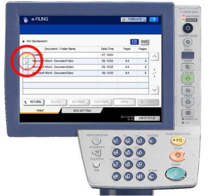 Xóa thư mục hoặc tài liệu (Delete Folders or Documents) trên máy Toshiba E-6570C